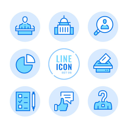 Elections line icons set. Voting, ballot box, exit poll, debates, political campaign outline symbols. Modern simple stroke graphic elements. Round icons  イラスト・ベクター素材