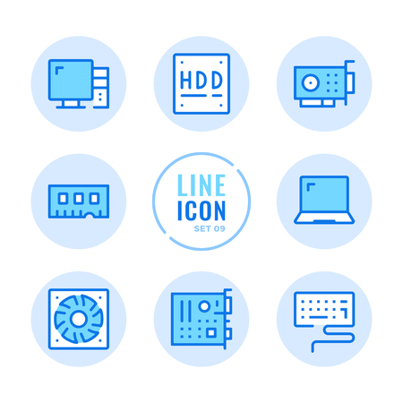 Computer hardware line icons set. Computer parts, motherboard, video card, memory stick, hard drive outline symbols. Modern simple stroke graphic elements. Round icons 写真素材 - 124095432
