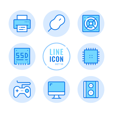 Computer parts line icons set. Computer hardware, monitor, CPU, mouse, game pad, printer outline symbols. Modern simple stroke graphic elements. Round icons