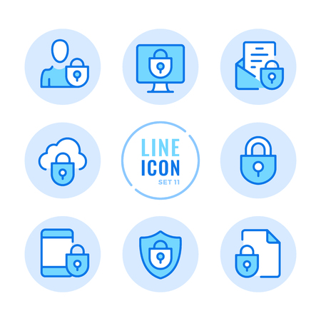 Data protection line icons set. Computer security, mobile protection, shield, lock, privacy outline symbols. Modern simple stroke graphic elements. Round icons Vecteurs