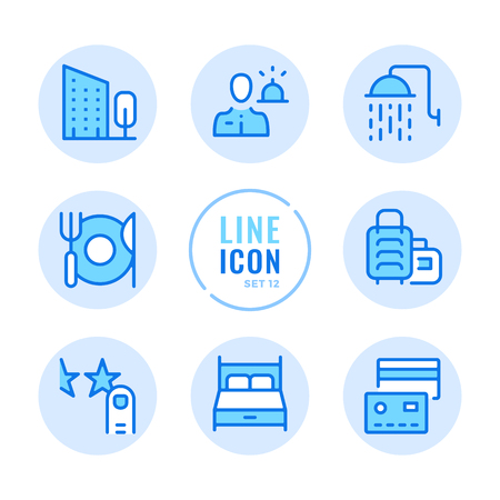 Booking, room reservation, bed, shower, hotel amenities outline symbols. Modern simple stroke graphic elements. Round icons 写真素材 - 124095428