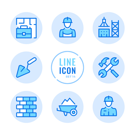 Construction line icons set. Building, tower crane, civil engineering, builder outline symbols. Modern simple stroke graphic elements. Round icons  イラスト・ベクター素材