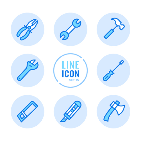 Tools line icons set. Wrench, screwdriver, hammer, hand saw, pliers outline symbols. Modern simple stroke graphic elements. Round icons 写真素材 - 124095437