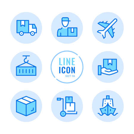 Delivery line icons set. Warehouse, courier service, delivery car, cargo, distribution outline symbols. Modern simple stroke graphic elements. Round icons