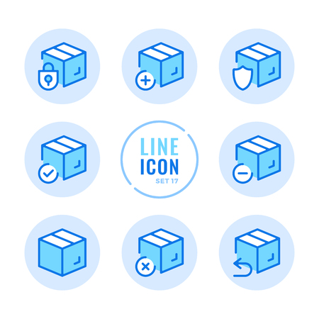 Box line icons set. Package, parcel, isometric boxes outline symbols. Modern simple stroke graphic elements. Round icons 写真素材 - 124095434