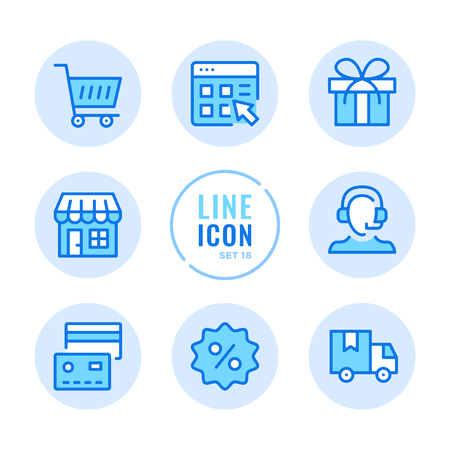 Online shopping line icons set. Store, customer support, credit card, discount, shopping cart outline symbols. Modern simple stroke graphic elements. Round icons 写真素材 - 124095433