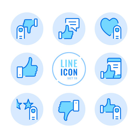 Like icons set. Like, dislike, thumbs up, thumbs down, customer satisfaction, recommend outline symbols. Modern simple stroke graphic elements. Round icons