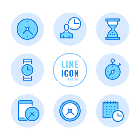 Time icons set. Clock, watch, timer, calendar, stopwatch outline symbols. Modern simple stroke graphic elements. Round icons  イラスト・ベクター素材
