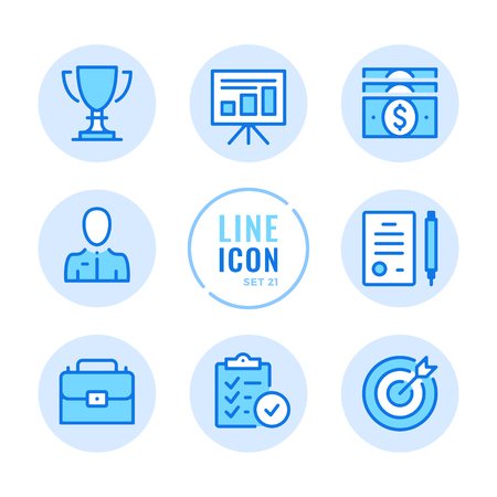 Business icons set. Checklist, contract, trophy, money, briefcase outline symbols. Modern simple stroke graphic elements. Round icons 写真素材 - 124095441