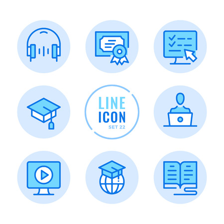 Online education icons set. Book, computer, graduation hat, headphones, diploma outline symbols. Modern simple stroke graphic elements. Round icons  イラスト・ベクター素材