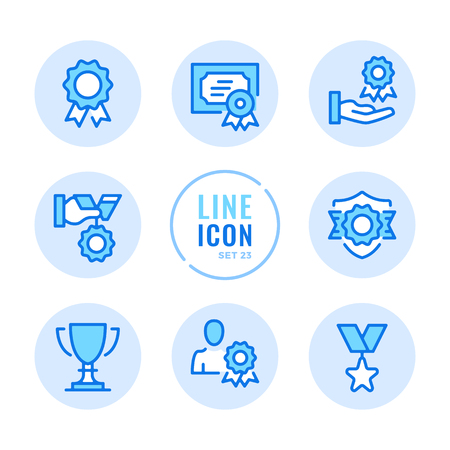 Awards icons set. Medal, certificate, reward, trophy outline symbols. Modern simple stroke graphic elements. Round icons 写真素材 - 124095447