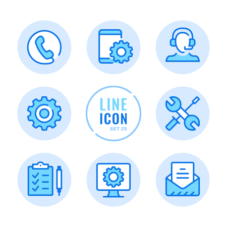 Technical support icons set. Technician, call center, computer, mobile phone repair service outline symbols. Modern simple stroke graphic elements. Round icons 写真素材 - 124095443