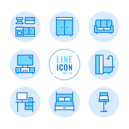 Furniture icons set. Room interior objects, wardrobe, kitchen, sofa, bed outline symbols. Modern simple stroke graphic elements. Round icons 写真素材 - 124095445