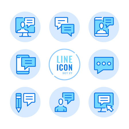 Communication icons set. Message, online chat, text messaging, speech bubbles outline symbols. Modern simple stroke graphic elements. Round icons