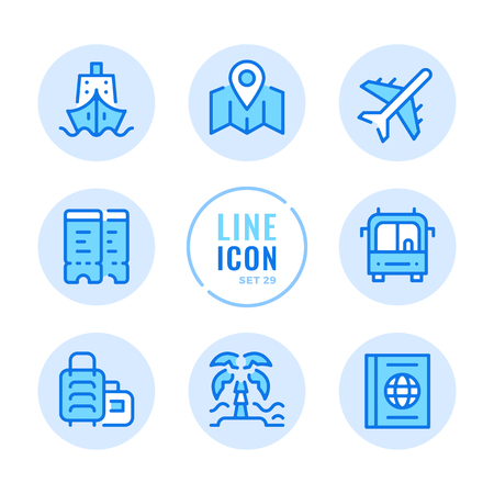 Travel icons set. Map, ship, bus trip, beach, flight tickets outline symbols. Modern simple stroke graphic elements. Round icons