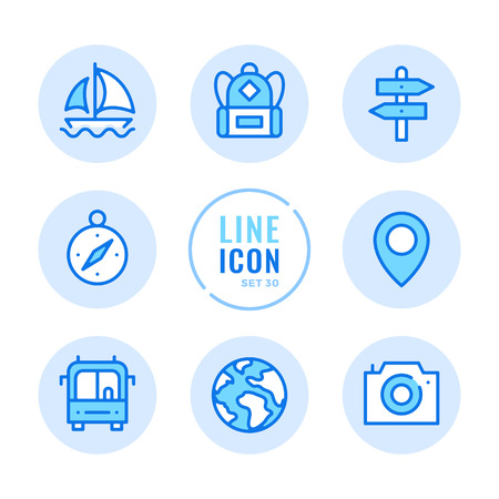 Tourism icons set. Map label, camera, navigation, backpack, vacation outline symbols. Modern simple stroke graphic elements. Round icons