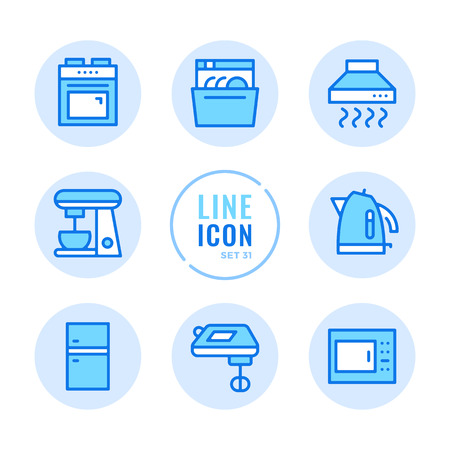 Kitchen appliances icons set. Household appliances, microwave, dishwasher, cooking stove, fridge outline symbols. Modern simple stroke graphic elements. Round icons