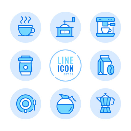 Coffee icons set. Coffee cup, cafe, shop, beans, disposable cup outline symbols. Modern simple stroke graphic elements. Round icons