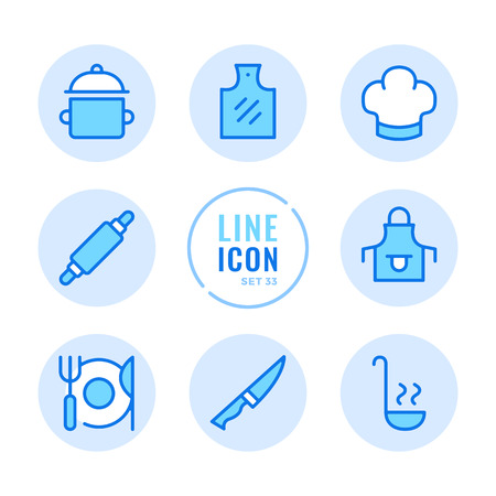 Cooking icons set. Kitchen utensils, cooking pot, food preparation, cutting board outline symbols. Modern simple stroke graphic elements. Round icons