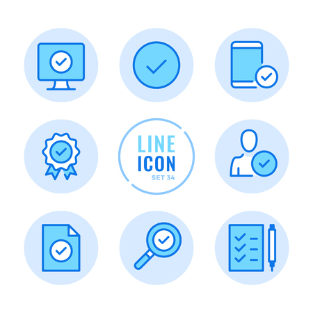 Approve icons set. Quality control, check mark, verification, check mark outline symbols. Modern simple stroke graphic elements. Round icons 写真素材 - 124095569