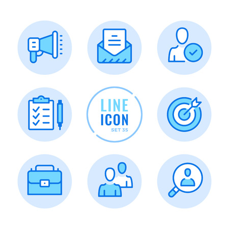 Human resources icons set. Employment, team management, hire employees, send cv, resume outline symbols. Modern simple stroke graphic elements. Round icons 写真素材 - 124095574