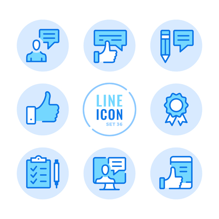 Feedback icons set. Like button, thumbs up, survey, recommend, review outline symbols. Modern simple stroke graphic elements. Round icons