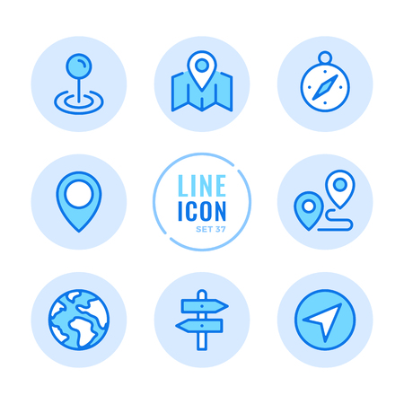 Location icons set. Navigation, map, compass, route, flag outline symbols. Modern simple stroke graphic elements. Round icons 写真素材 - 124095576