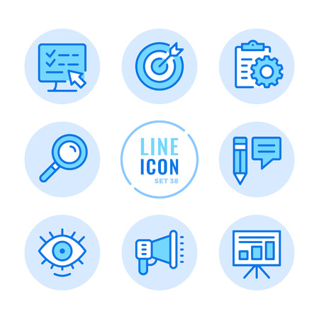 SEO icons set. Digital marketing, online advertising, copy writing, social media promotion outline symbols. Modern simple stroke graphic elements. Round icons