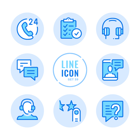 Customer service icons set. Client support, headset, help, user assistance outline symbols. Thin line design. Modern simple stroke graphic elements. Round icons