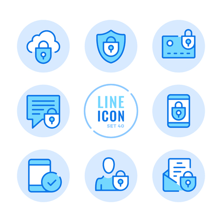 Mobile security icons set. Mobile phone protection, unlock smartphone, cellphone, lock, password outline symbols. Thin line design. Modern simple stroke graphic elements. Round icons 写真素材 - 124095581