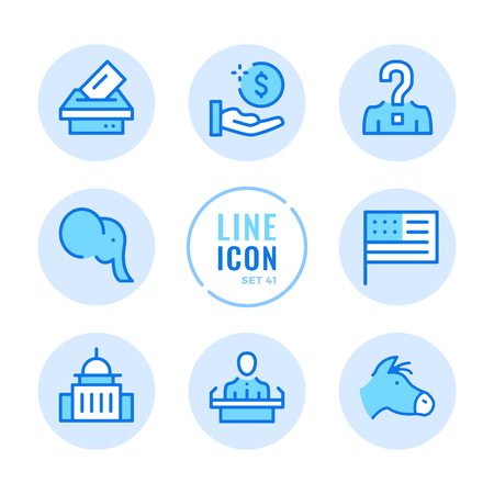 American elections icons set. Voting, politics, United States political party, government, ballot box outline symbols. Thin line design. Modern simple stroke graphic elements. Round icons  イラスト・ベクター素材