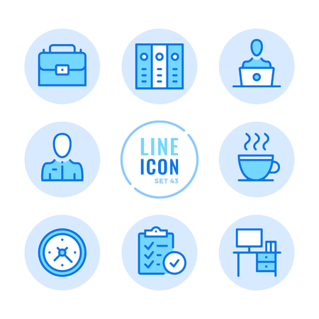 Office icons set. Job, business, briefcase, workplace, binders, report outline symbols. Thin line design. Modern simple stroke graphic elements. Round icons 写真素材 - 124095582