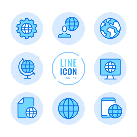 Globe icons set. Global business, communication, travel, world map, location, planet Earth outline symbols. Thin line design. Modern simple stroke graphic elements. Round icons 写真素材 - 124095584