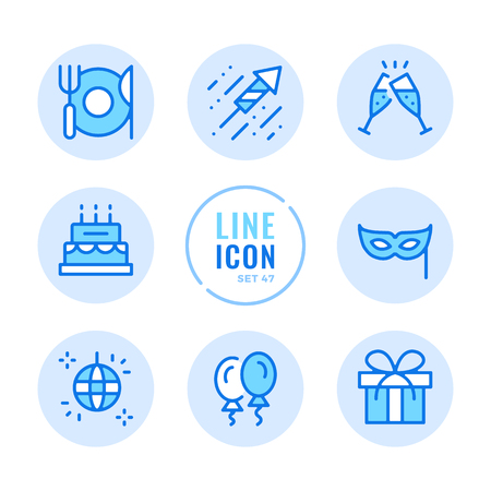 Party icons set. Celebration, holiday, event, champagne flutes, disco, gift, cheers outline symbols. Thin line design. Modern simple stroke graphic elements. Round icons