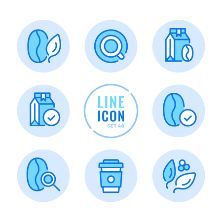 Coffee beans vector line icons set. Coffee packs, bags, quality control, disposable cup outline symbols. Thin line design. Modern simple stroke graphic elements. Round icons  イラスト・ベクター素材
