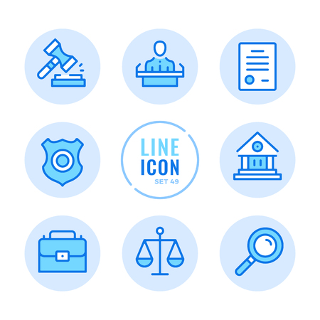 Law and justice vector line icons set. Court, judgment, legal document, examination of evidence, police badge outline symbols. Thin line design. Modern simple stroke graphic elements. Round icons