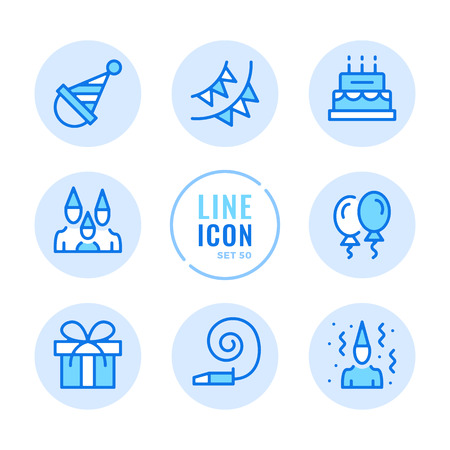 Birthday party vector line icons set. Celebration, surprise, birthday cake, holiday, gift outline symbols. Thin line design. Modern simple stroke graphic elements. Round icons 写真素材 - 126429589
