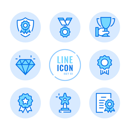 Awards vector line icons set. Reward, trophy, medal of honor, first place, achievement outline symbols. Thin line design. Modern simple stroke graphic elements. Round icons 写真素材 - 126429592