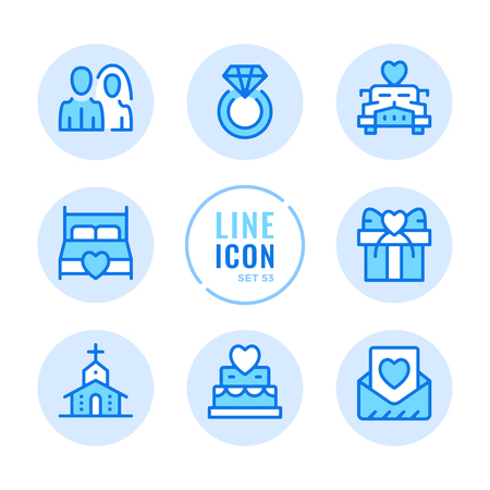 Wedding vector line icons set. Wedding ceremony, diamond ring, bride and groom, marriage, engagement outline symbols. Thin line design. Modern simple stroke graphic elements. Round icons