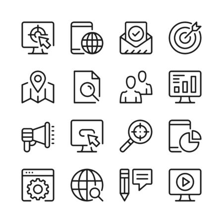 SEO line icons set. Modern graphic design concepts, simple outline elements collection. Vector line icons 写真素材 - 126429597