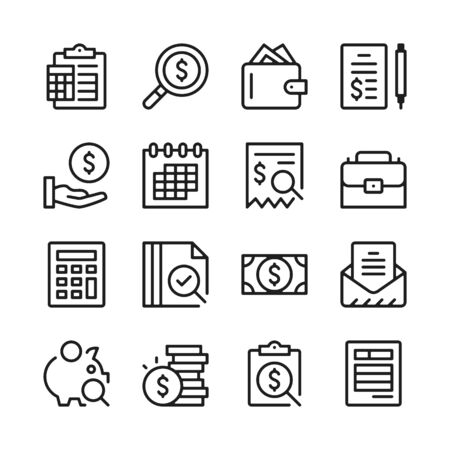 Accounting line icons set. Modern graphic design concepts, simple outline elements collection. Vector line icons