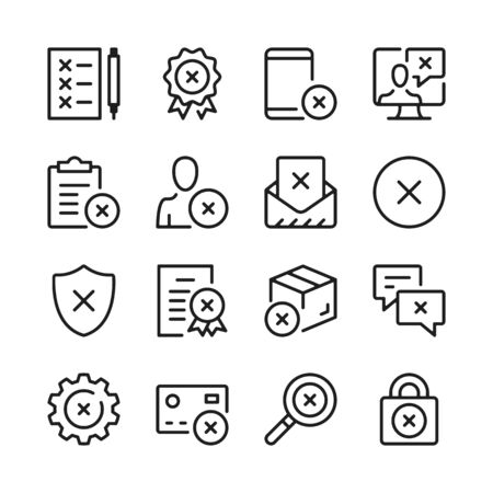 Reject line icons set. Modern graphic design concepts, simple outline elements collection. Vector line icons  イラスト・ベクター素材
