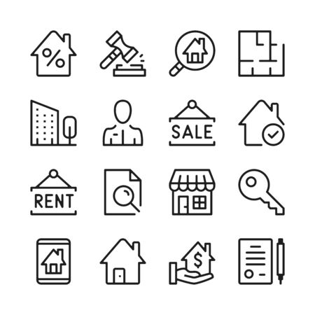 Real estate line icons set. Modern graphic design concepts, simple outline elements collection. Vector line icons 写真素材 - 126429602