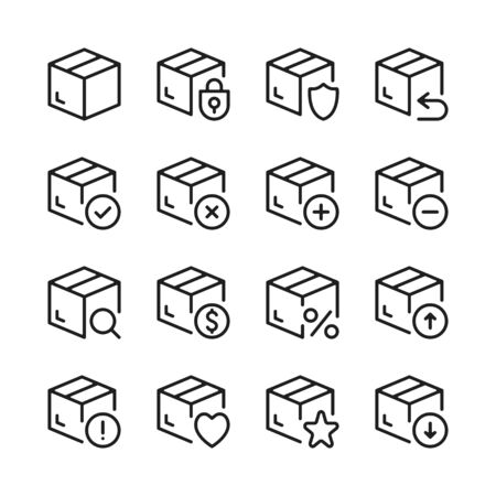 Delivery package line icons set. Modern graphic design concepts, simple outline elements collection. Vector line icons