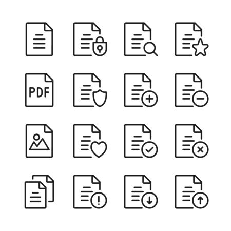 Document line icons set. Modern graphic design concepts, simple outline elements collection. Vector line icons 写真素材 - 126429605