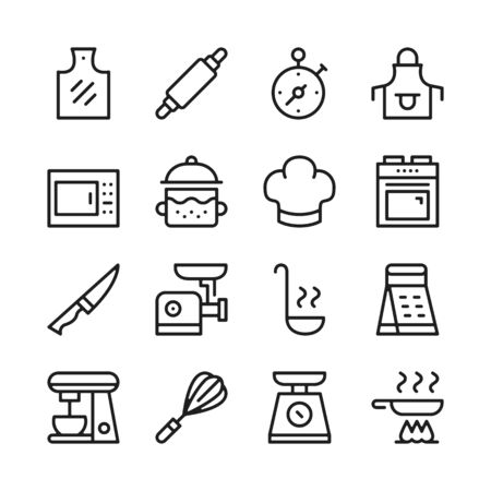 Cooking line icons set. Modern graphic design concepts, simple outline elements collection. Vector line icons 写真素材 - 126429609