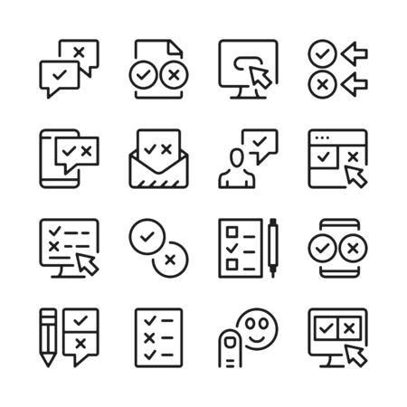Survey line icons set. Modern graphic design concepts, simple outline elements collection. Vector line icons