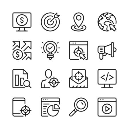 SEO line icons set. Target marketing. Modern graphic design concepts, simple outline elements collection. Vector line icons 写真素材 - 126429614
