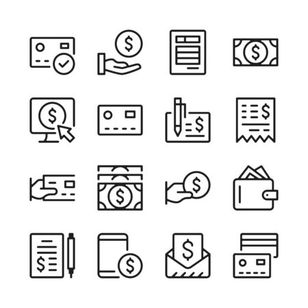 Payment line icons set. Money. Modern graphic design concepts, simple outline elements collection. Vector line icons 写真素材 - 126429615