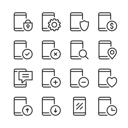 Mobile phone line icons set. Modern graphic design concepts, simple outline elements collection. Vector line icons